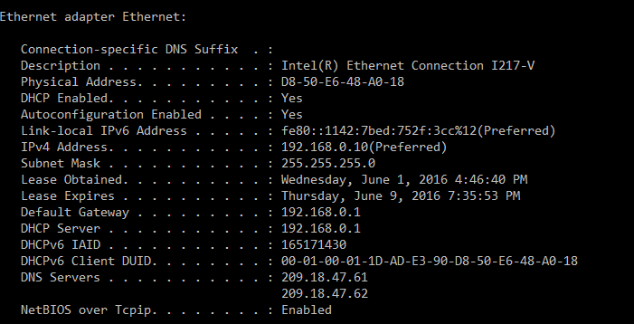 Command Prompt DHCP Lease